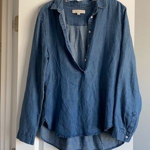 Button front denim long sleeve